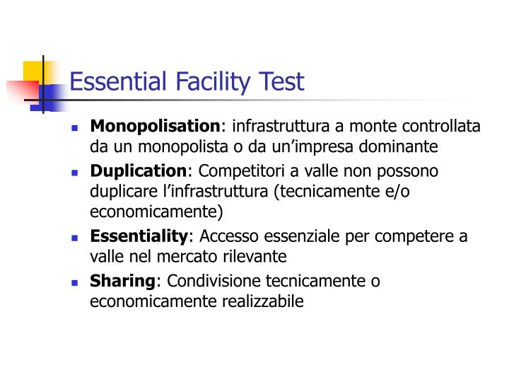 Essential Facility Test