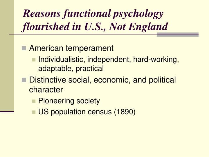 Reasons functional psychology flourished in U.S., Not England