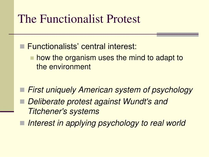 The Functionalist Protest