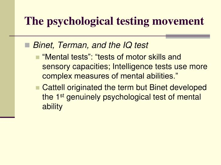 The psychological testing movement