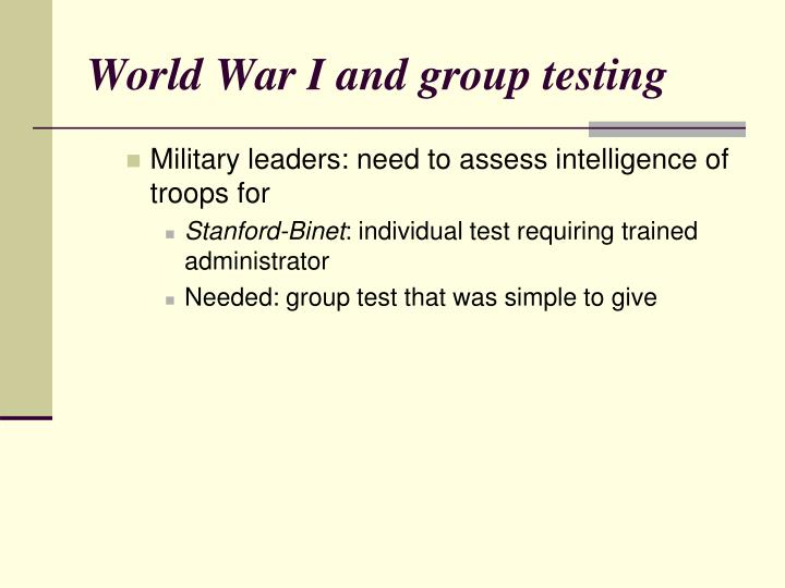 World War I and group testing