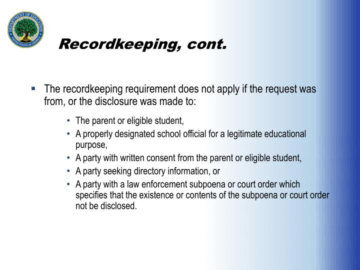 Recordkeeping, cont.