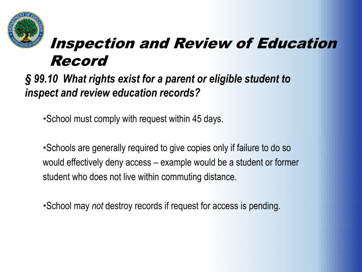 Inspection and Review of Education Record