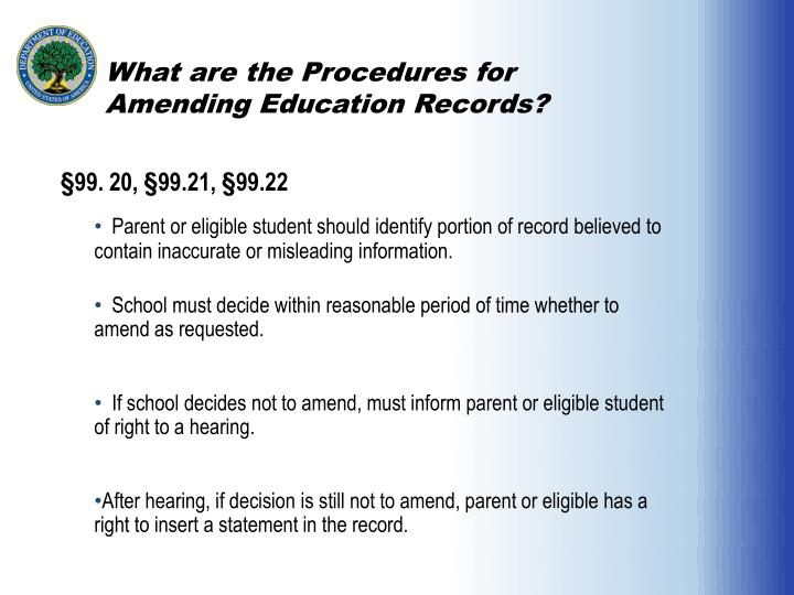 What are the Procedures for Amending Education Records?
