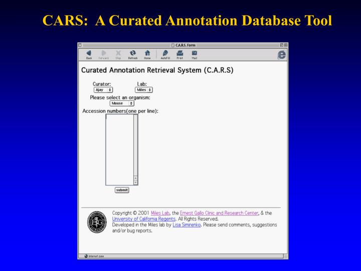 CARS:  A Curated Annotation Database Tool