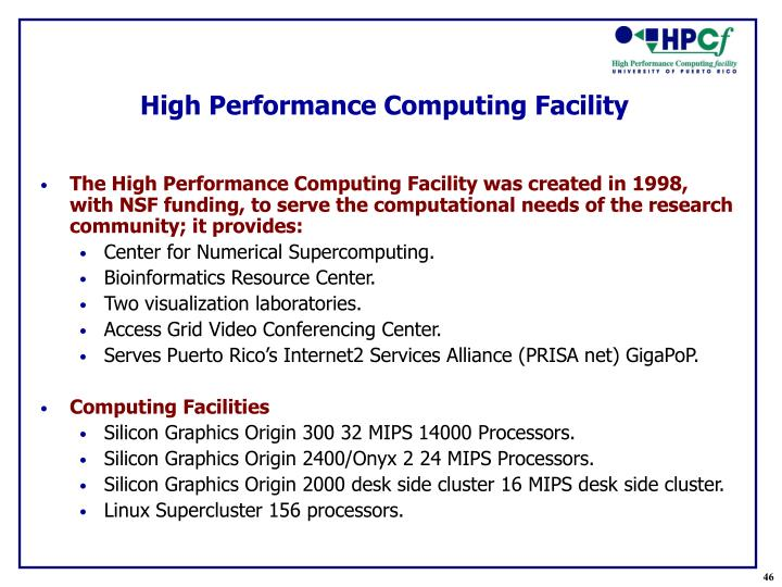 High Performance Computing Facility