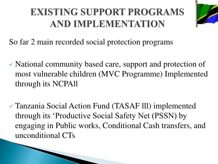 EXISTING SUPPORT PROGRAMS AND IMPLEMENTATION