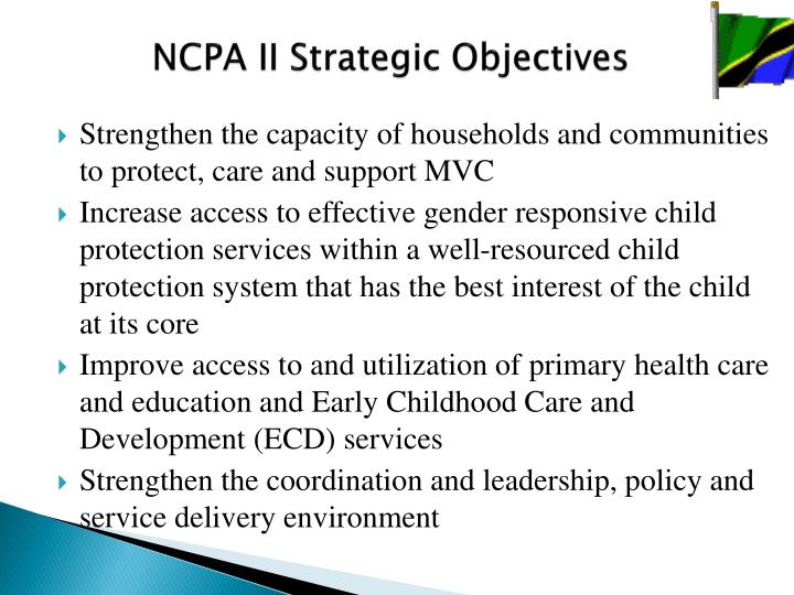 NCPA II Strategic Objectives