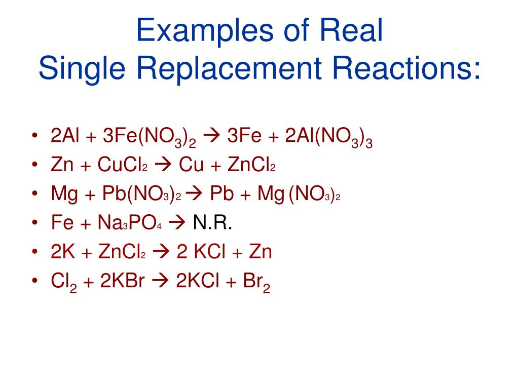 Chemical Equation Single Replacement Reactions Tessshebaylo