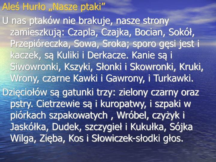 """Aleś Hurło """"Nasze ptaki"""""""