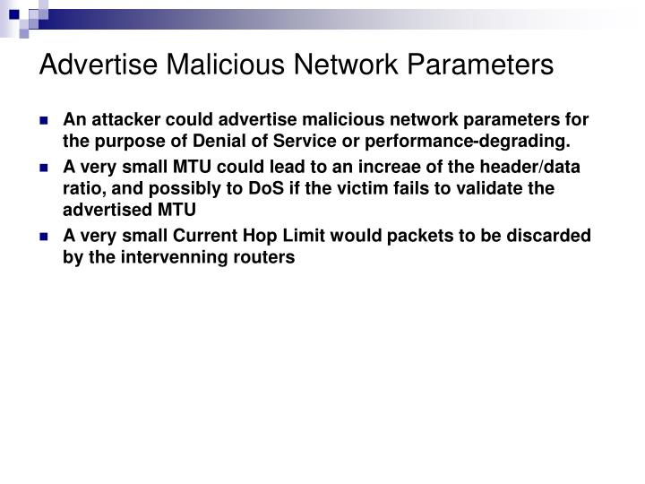 Advertise Malicious Network Parameters