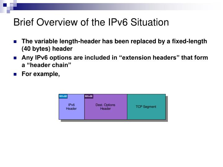 Brief Overview of the IPv6 Situation