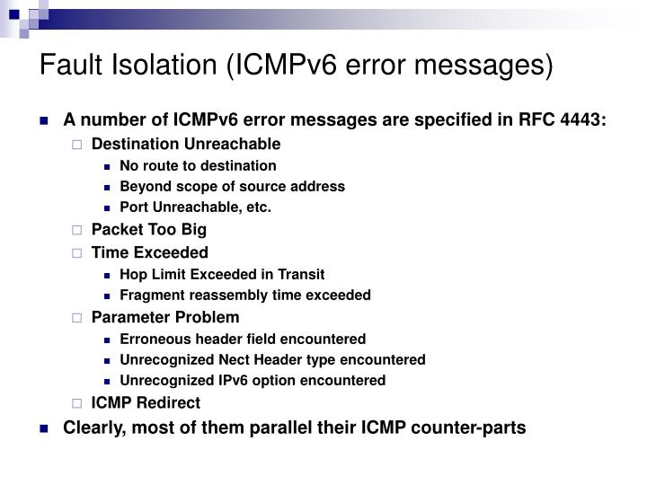 Fault Isolation (ICMPv6 error messages)