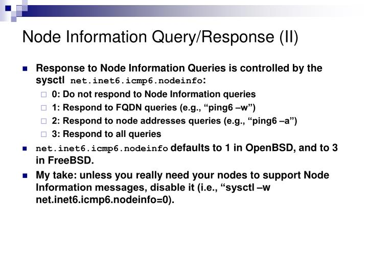 Node Information Query/Response (II)