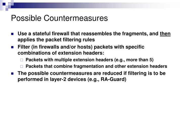 Possible Countermeasures