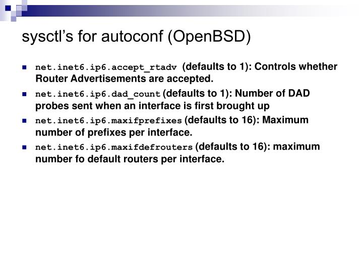sysctl's for autoconf (OpenBSD)