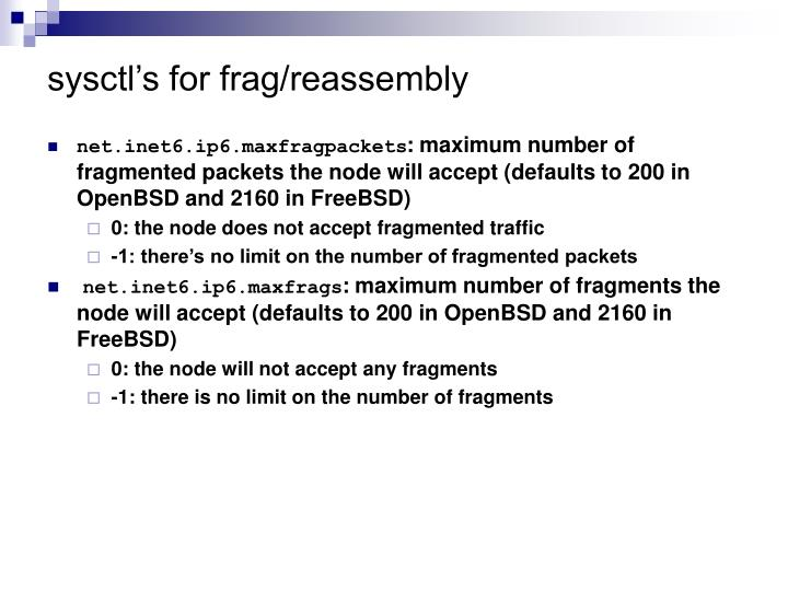 sysctl's for frag/reassembly