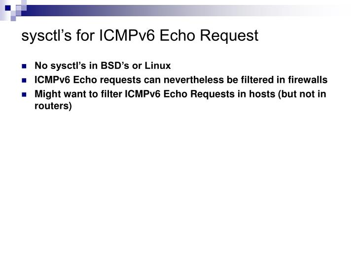sysctl's for ICMPv6 Echo Request