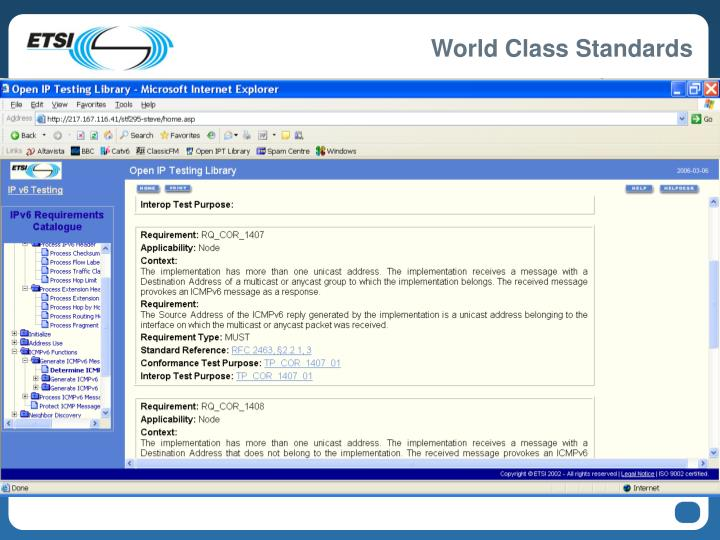 Example: ETSI IP Testing Library