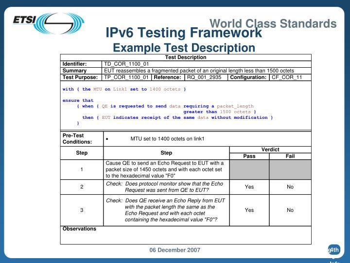 IPv6 Testing Framework
