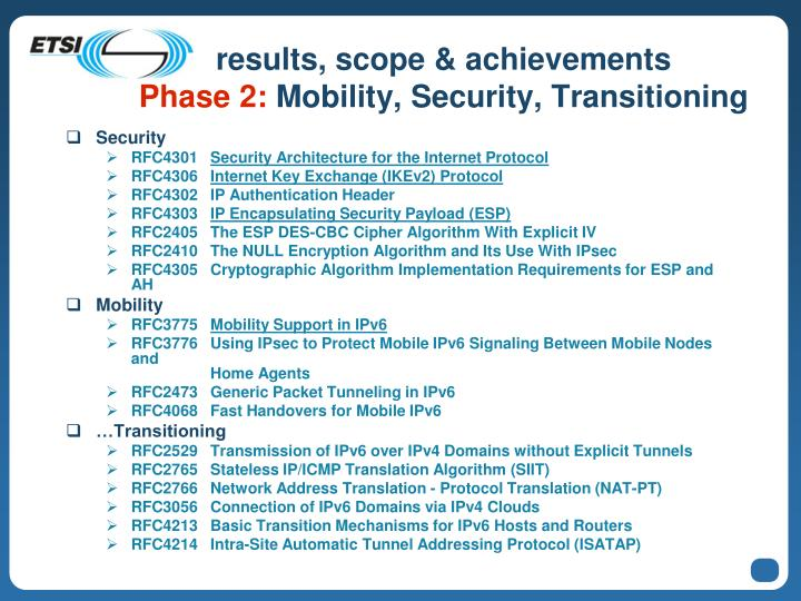 results, scope & achievements
