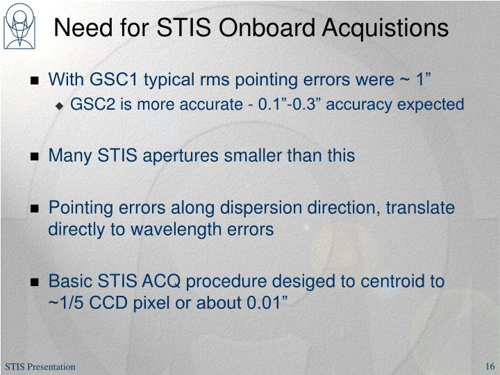 Need for STIS Onboard Acquistions