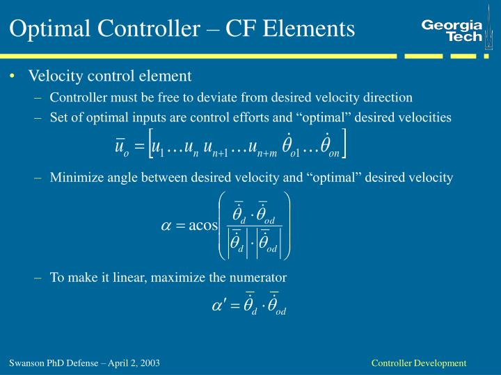 Optimal Controller – CF Elements