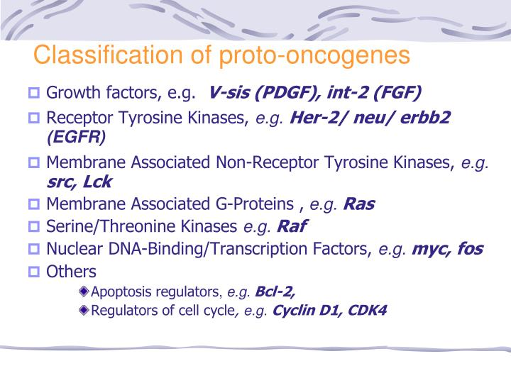 Classification of proto-oncogenes