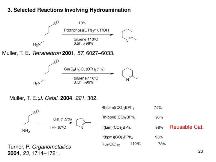 3. Selected Reactions Involving Hydroamination