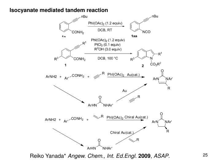 Isocyanate mediated tandem reaction