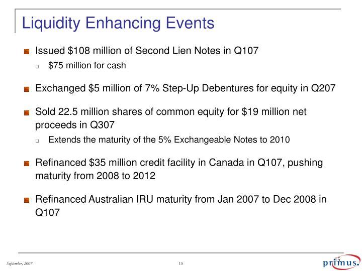 Liquidity Enhancing Events