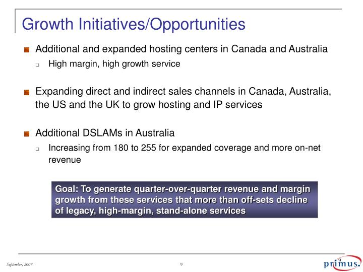 Growth Initiatives/Opportunities