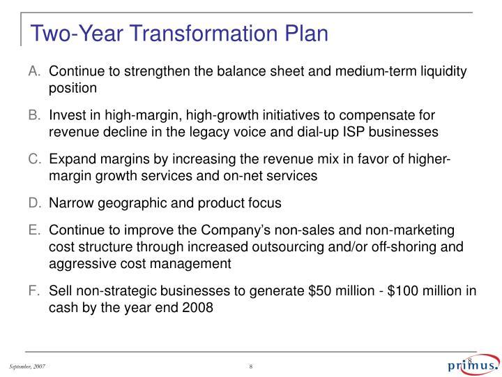 Two-Year Transformation Plan
