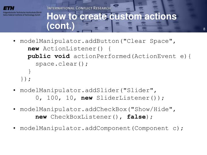 How to create custom actions (cont.)