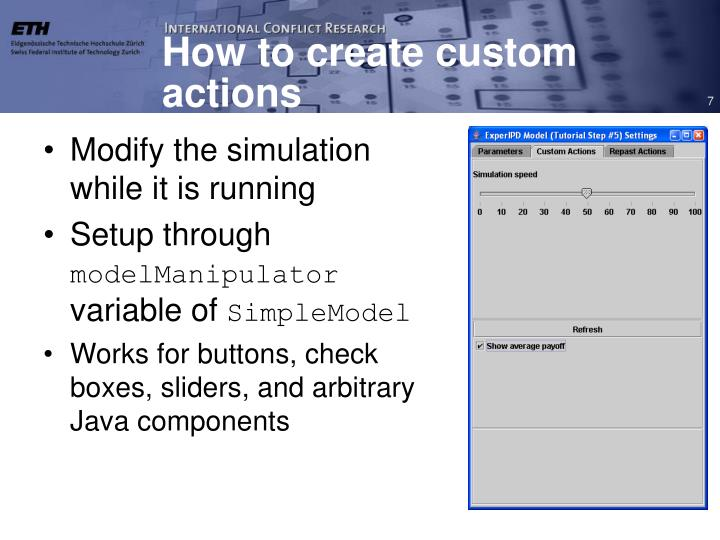 How to create custom actions
