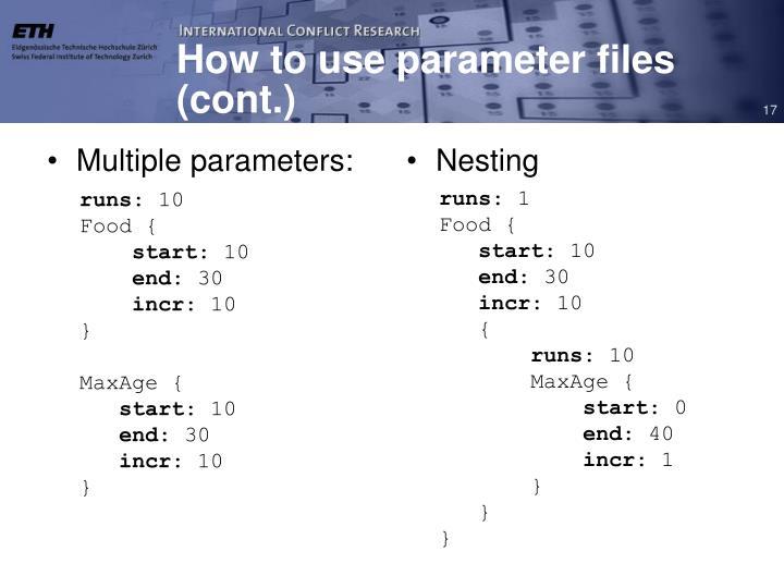 Multiple parameters: