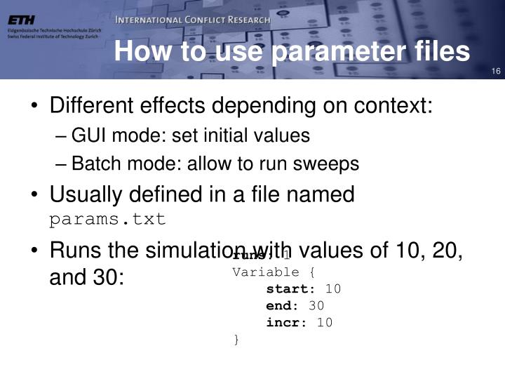 How to use parameter files