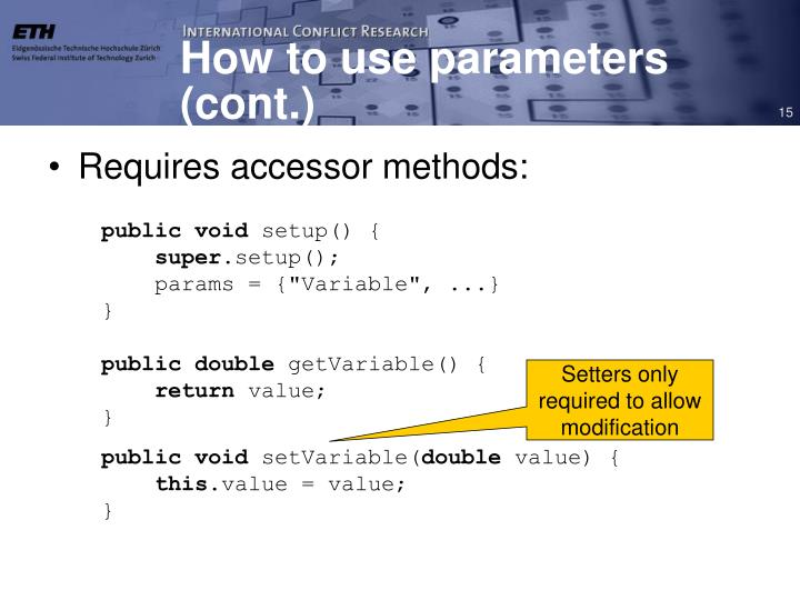 How to use parameters (cont.)