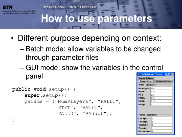 How to use parameters