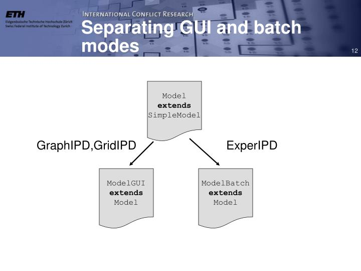 Separating GUI and batch modes