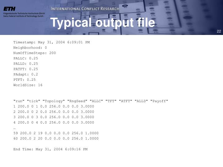 Typical output file
