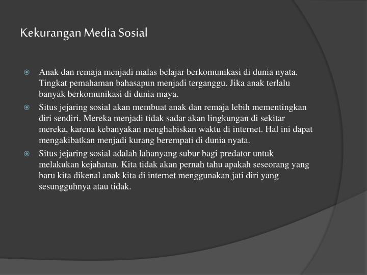 Kekurangan Media Sosial