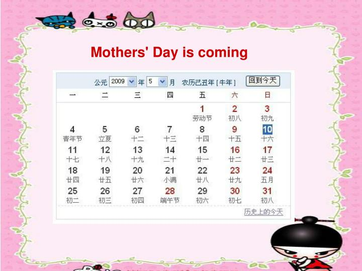 Mothers' Day is coming