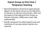 expert group on part time temporary teaching