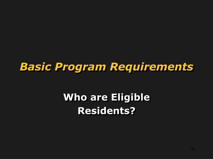 Basic Program Requirements