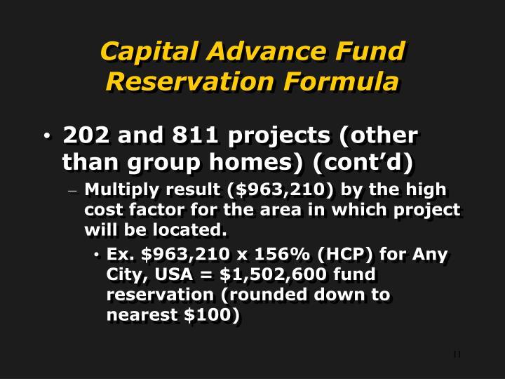 Capital Advance Fund Reservation Formula