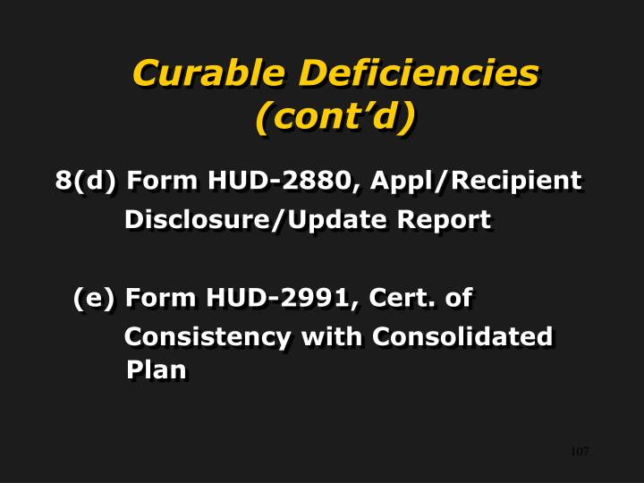 Curable Deficiencies (cont'd)