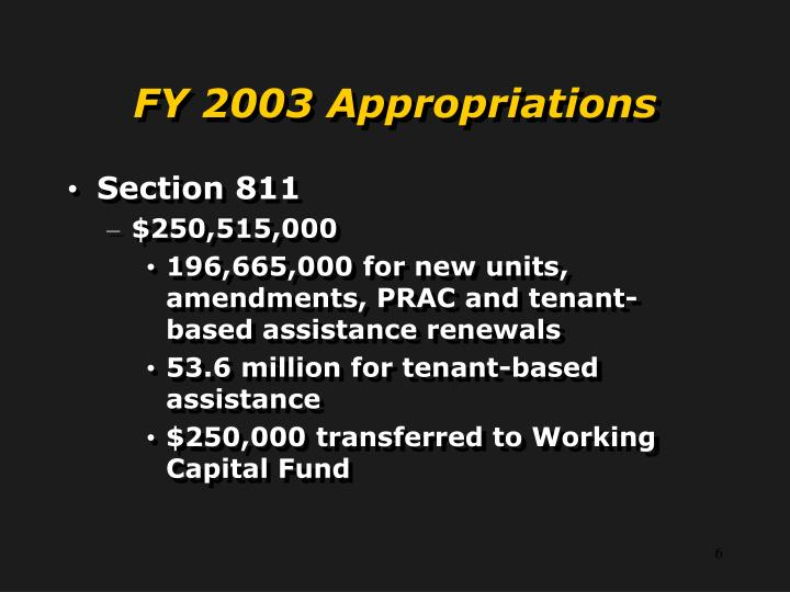 FY 2003 Appropriations