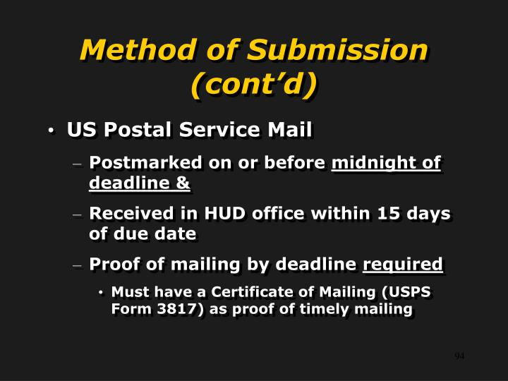 Method of Submission (cont'd)