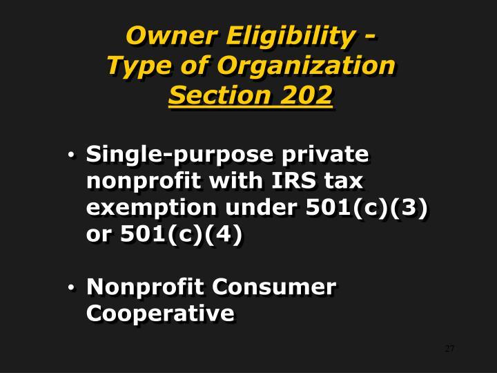 Owner Eligibility -
